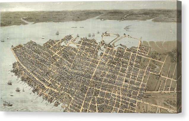 Birds Eye View Of Charleston 1872 - Canvas Print