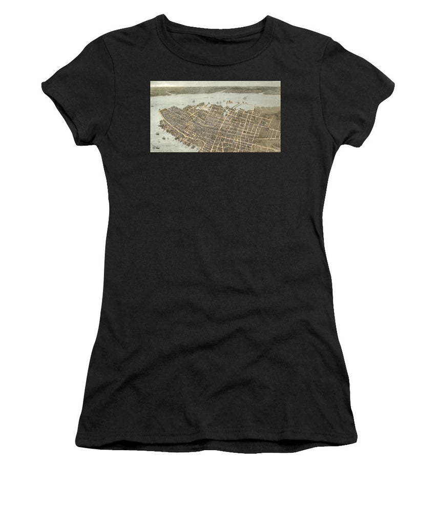 Birds Eye View Of Charleston 1872 - Women's T-Shirt