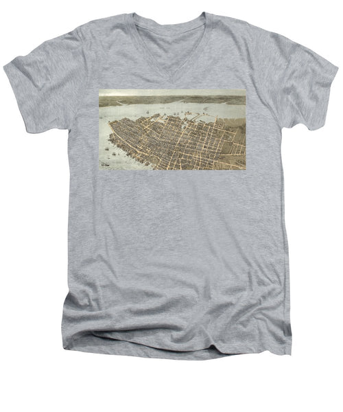 Birds Eye View Of Charleston 1872 - Men's V-Neck T-Shirt