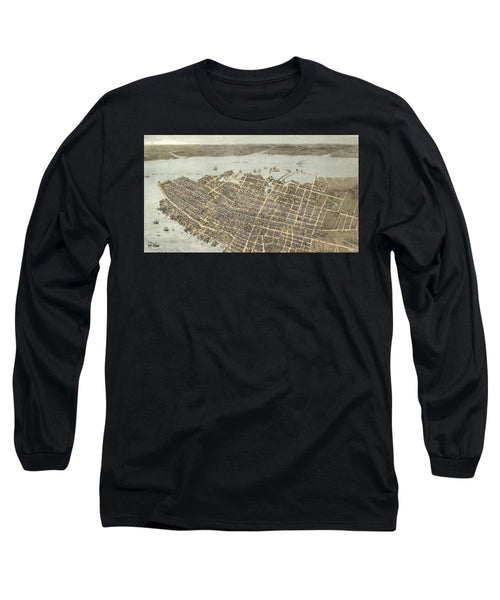 Birds Eye View Of Charleston 1872 - Long Sleeve T-Shirt