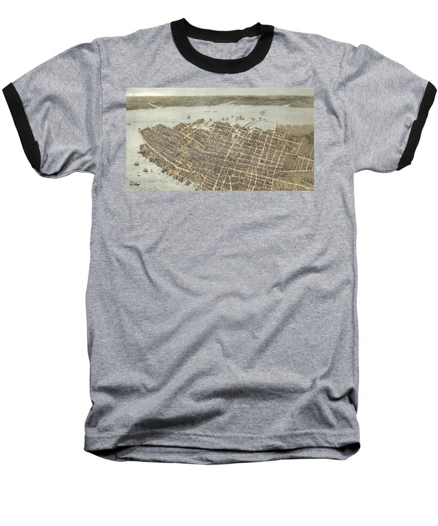 Birds Eye View Of Charleston 1872 - Baseball T-Shirt