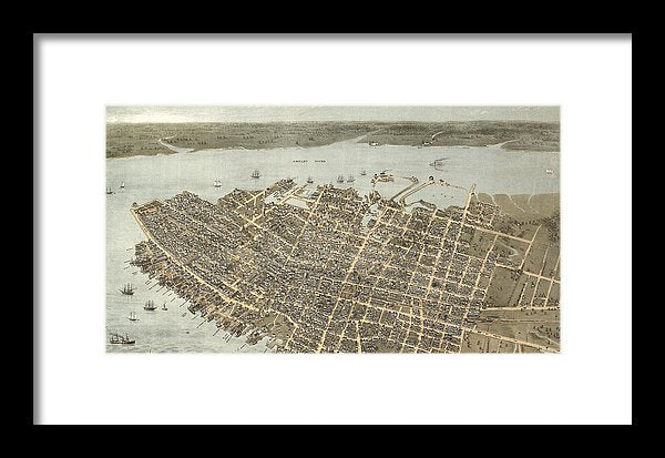 Birds Eye View Of Charleston 1872 - Framed Print