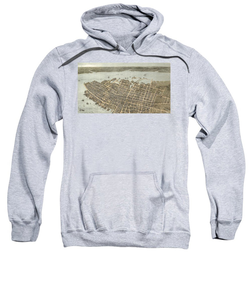Birds Eye View Of Charleston 1872 - Sweatshirt