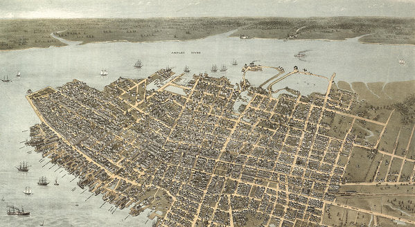 Birds Eye View Of Charleston 1872 - Art Print
