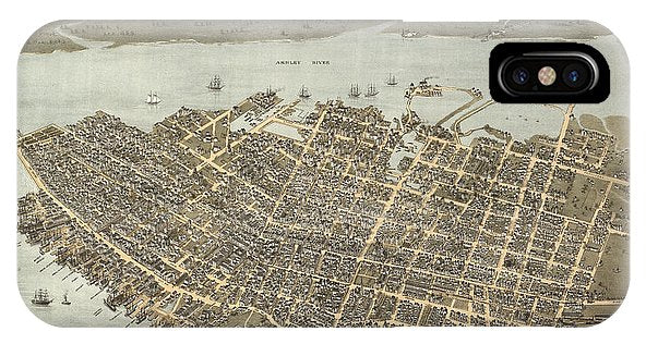 Birds Eye View Of Charleston 1872 - Phone Case