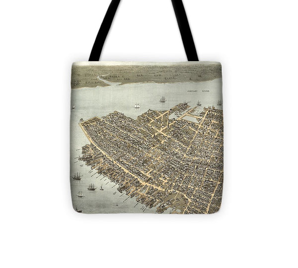 Birds Eye View Of Charleston 1872 - Tote Bag