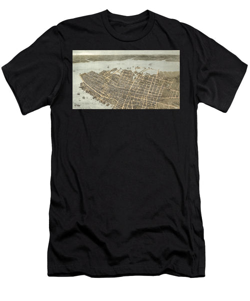 Birds Eye View Of Charleston 1872 - Men's T-Shirt (Athletic Fit)