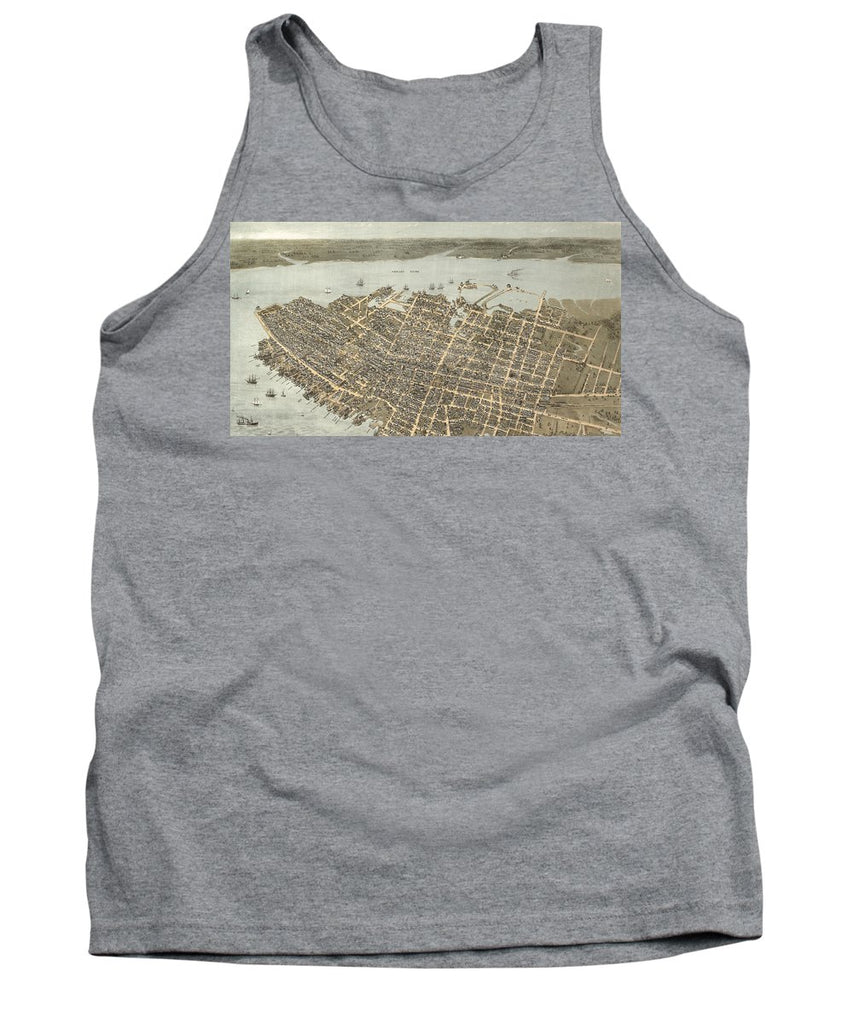 Birds Eye View Of Charleston 1872 - Tank Top