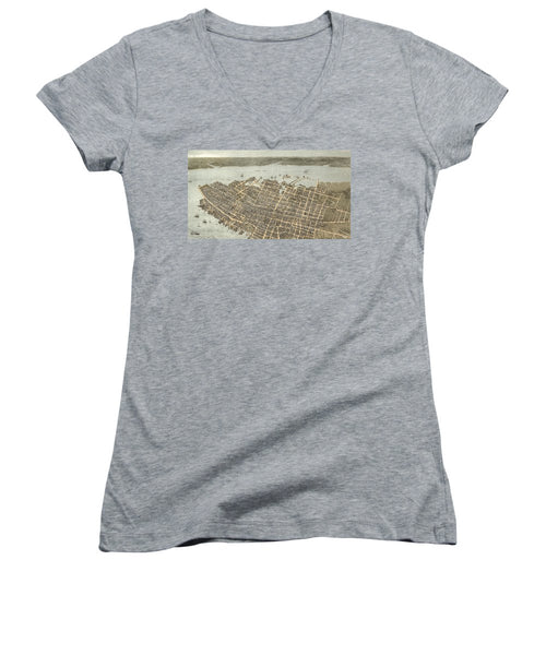 Birds Eye View Of Charleston 1872 - Women's V-Neck