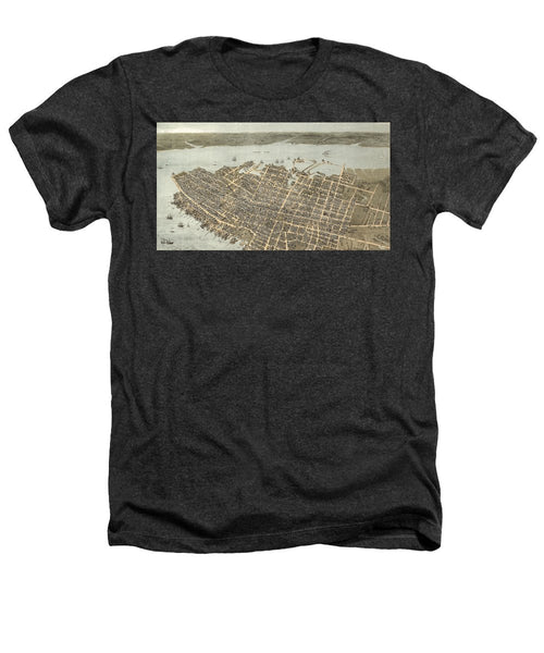 Birds Eye View Of Charleston 1872 - Heathers T-Shirt
