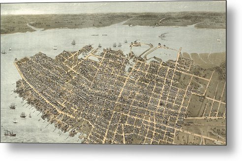 Birds Eye View Of Charleston 1872 - Metal Print
