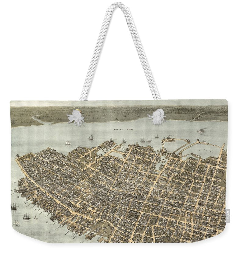 Birds Eye View Of Charleston 1872 - Weekender Tote Bag