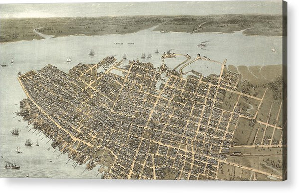 Birds Eye View Of Charleston 1872 - Acrylic Print