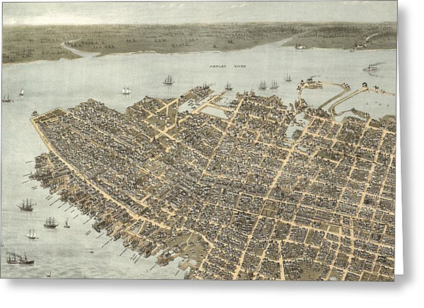 Birds Eye View Of Charleston 1872 - Greeting Card