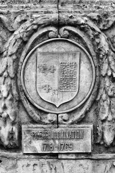 "Black and white photograph of an ornate street pole crest, part of a series illustrating the nations that have ruled over Louisiana in the past, seen along Basin Street in New Orleans. The metallic sign says, ""French Domination 1718 - 1769."""