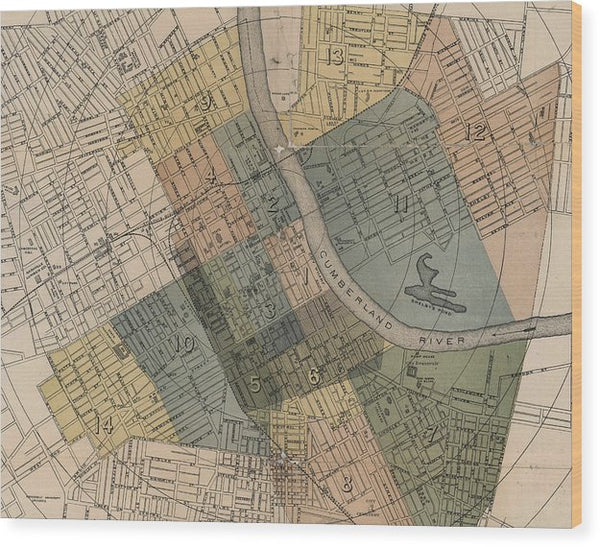 Map Of Nashville 1880s  - Wood Print