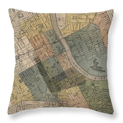 Map Of Nashville 1880s  - Throw Pillow