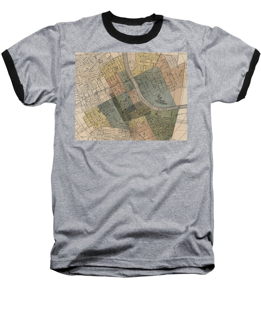 Map Of Nashville 1880s  - Baseball T-Shirt
