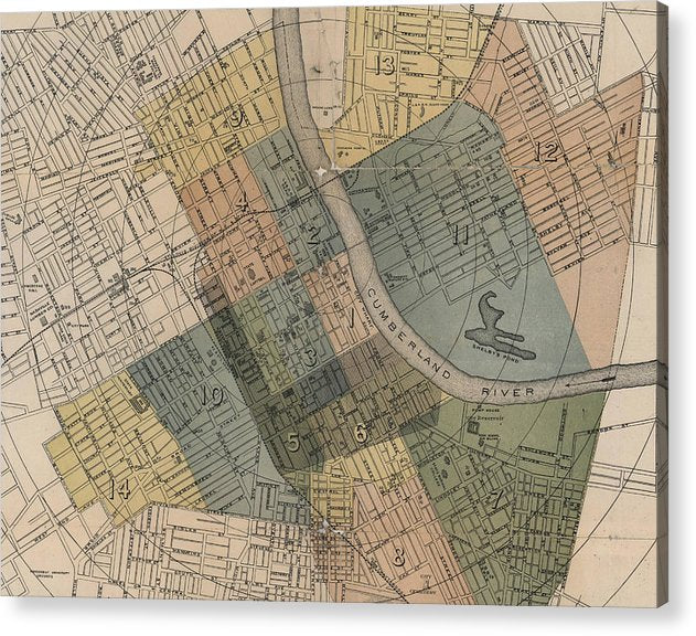 graphic about Printable Map of Nashville named Map Of Nashville 1880s - Acrylic Print