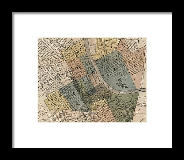Map Of Nashville 1880s  - Framed Print
