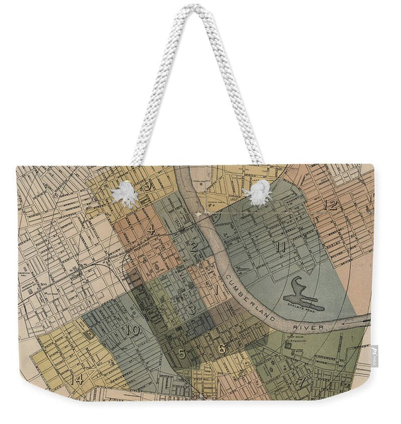 Map Of Nashville 1880s  - Weekender Tote Bag