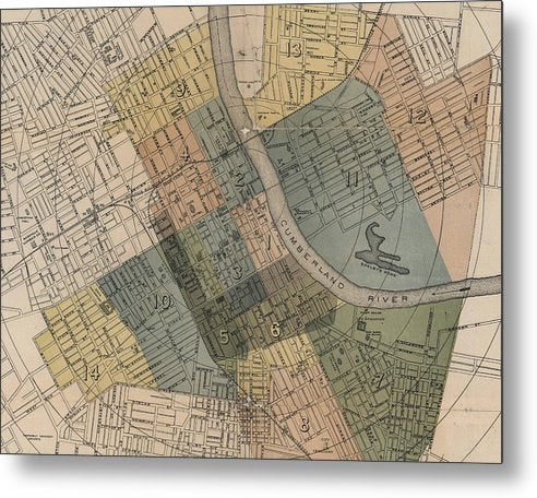 Map Of Nashville 1880s  - Metal Print