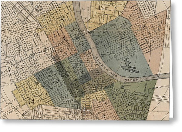Map Of Nashville 1880s  - Greeting Card