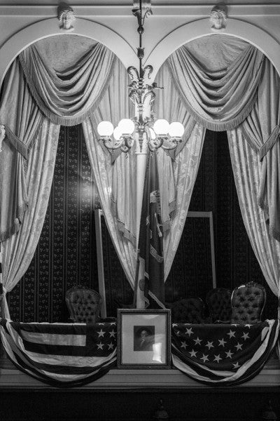 Black and white photograph of the actual box inside Ford's Theater where President Abraham Lincoln was shot by actor John Wilkes Booth on April 14, 1865.