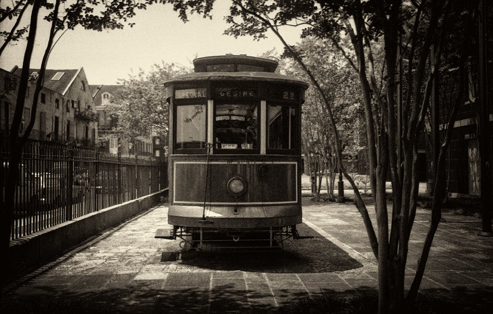 Vintage 1980s photo of original streetcar named desire in New Orleans. Fine art prints for sale $48.00 free shipping.