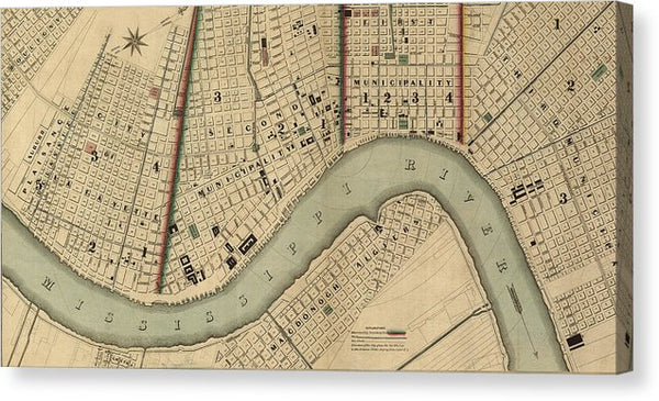 Vintage 1840s Map Of New Orleans - Canvas Print