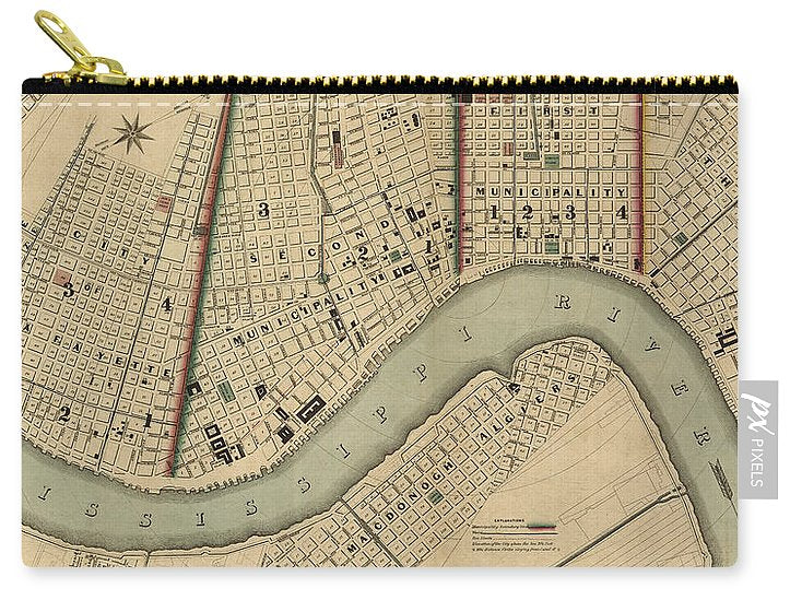 Vintage 1840s Map Of New Orleans - Carry-All Pouch