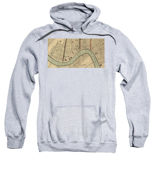 Vintage 1840s Map Of New Orleans - Sweatshirt