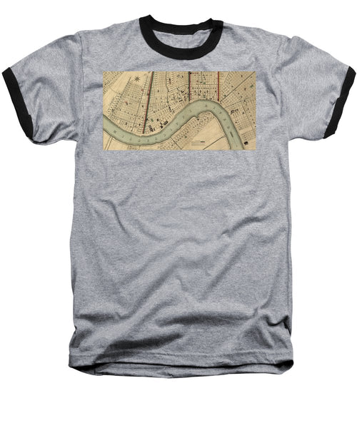 Vintage 1840s Map Of New Orleans - Baseball T-Shirt
