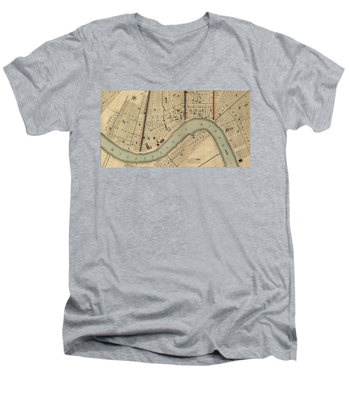 Vintage 1840s Map Of New Orleans - Men's V-Neck T-Shirt