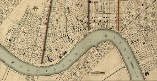 Vintage 1840s Map Of New Orleans - Art Print