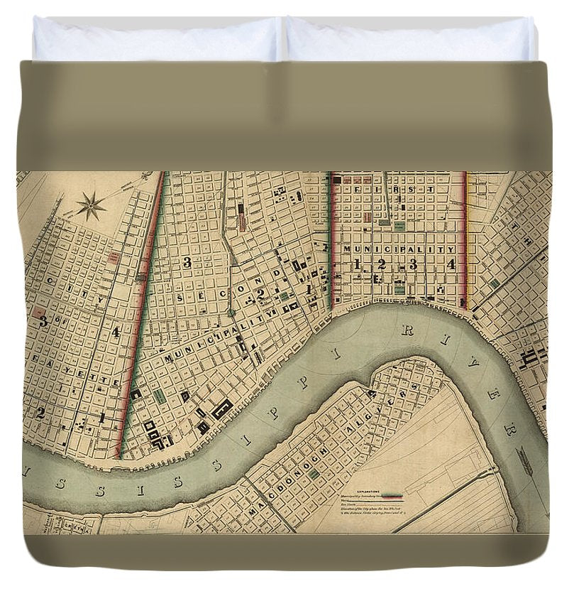 Vintage 1840s Map Of New Orleans - Duvet Cover