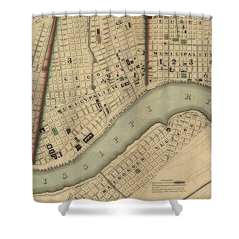Vintage 1840s Map Of New Orleans - Shower Curtain