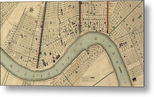 Vintage 1840s Map Of New Orleans - Metal Print
