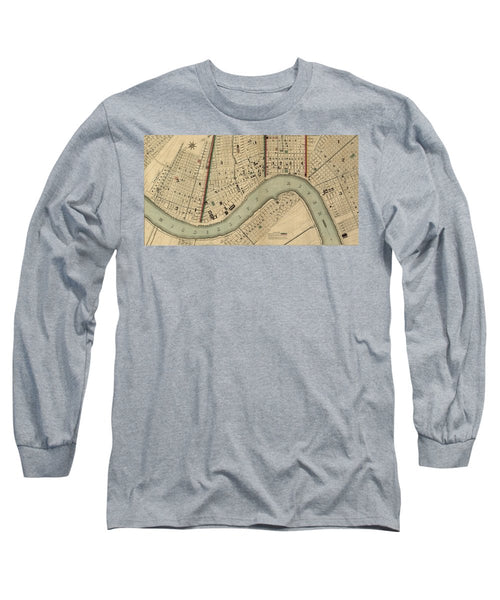 Vintage 1840s Map Of New Orleans - Long Sleeve T-Shirt