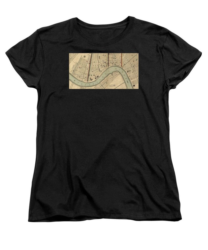 Vintage 1840s Map Of New Orleans - Women's T-Shirt (Standard Fit)