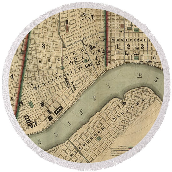 Vintage 1840s Map Of New Orleans - Round Beach Towel