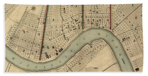 Vintage 1840s Map Of New Orleans - Beach Towel