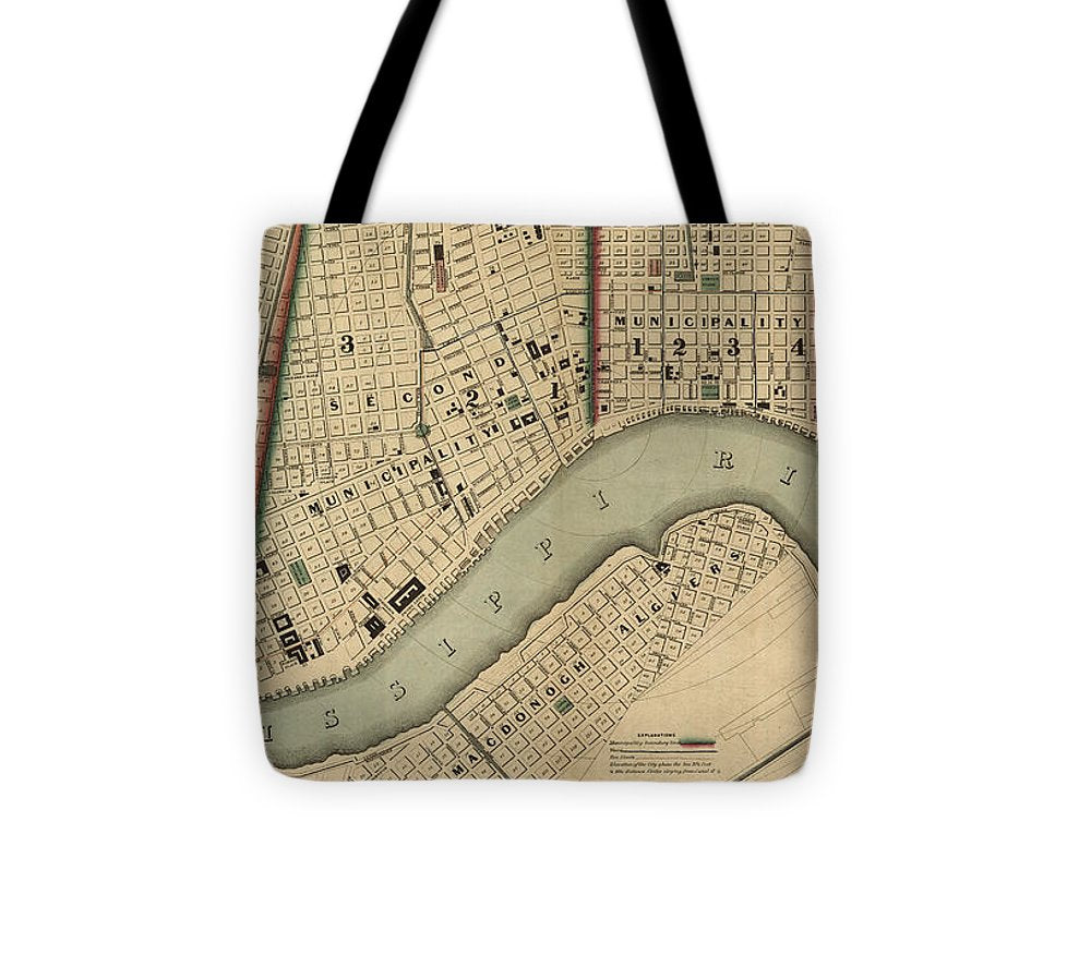 Vintage 1840s Map Of New Orleans - Tote Bag
