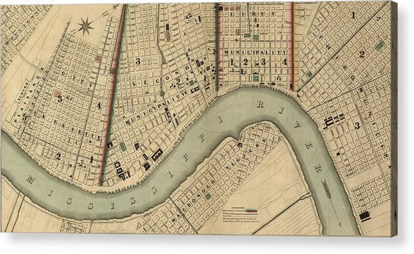 Vintage 1840s Map Of New Orleans - Acrylic Print