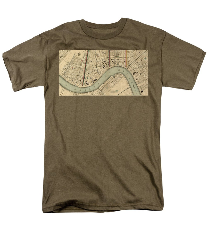 Vintage 1840s Map Of New Orleans - Men's T-Shirt  (Regular Fit)