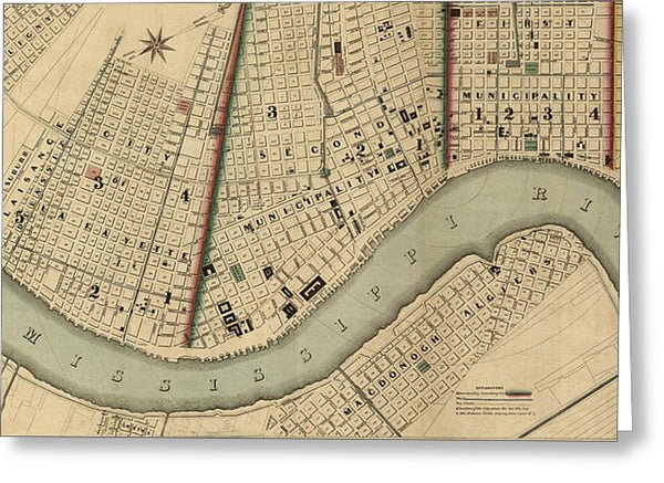 Vintage 1840s Map Of New Orleans - Greeting Card