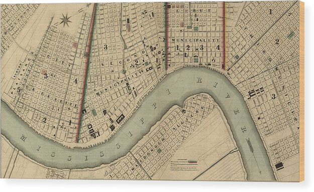 Vintage 1840s Map Of New Orleans - Wood Print