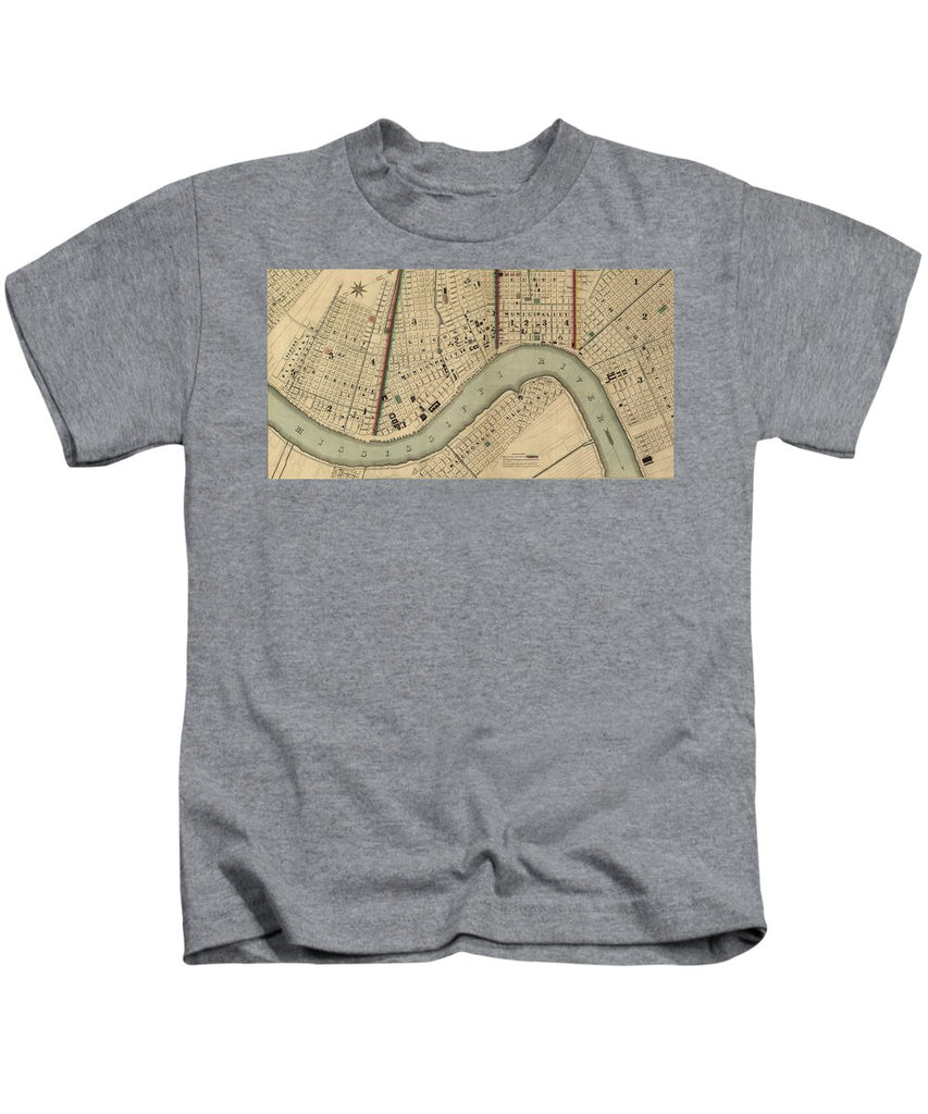 Vintage 1840s Map Of New Orleans - Kids T-Shirt