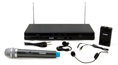 Mason VX-500 Dual Channel Wireless Headset and Handheld Microphone System