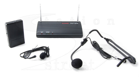 Accusonic WMA-202L Wireless Headset, Lapel and Guitar True Diversity Microphone System